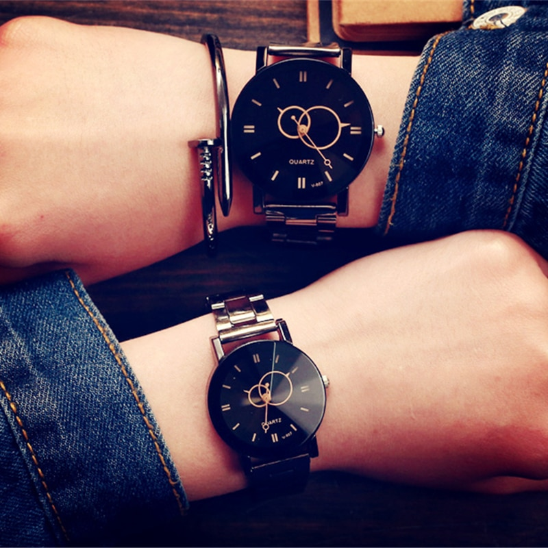Женские часы KEVIN, модные кварцевые наручные часы черного цвета с круглыми циферблатами и ремешком из нержавеющей стали, подарки для мужчин