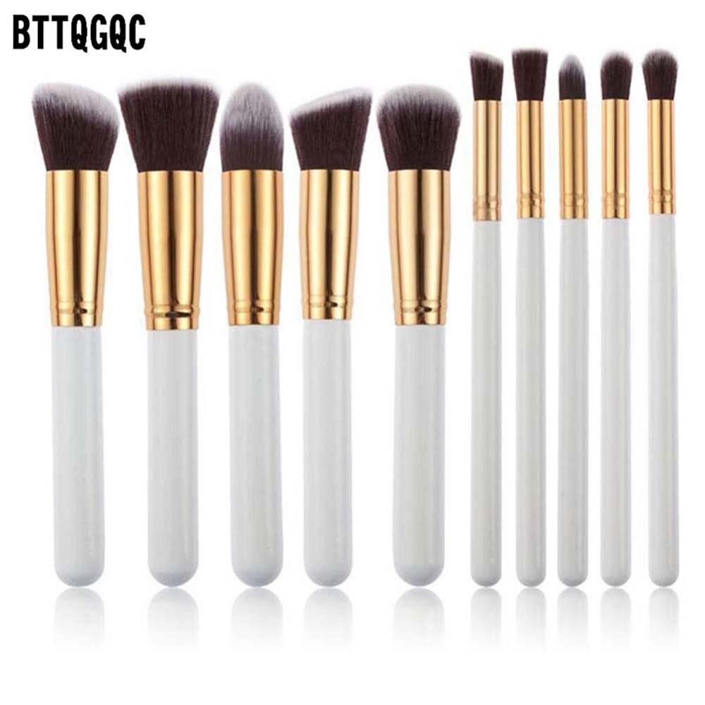 BTTQGQC 10 Pcs Silver/Golden Makeup Brush Set Cosmetics Foundation Blending Blush Makeup Tool Powder Eyeshadow Beauty tools 005#