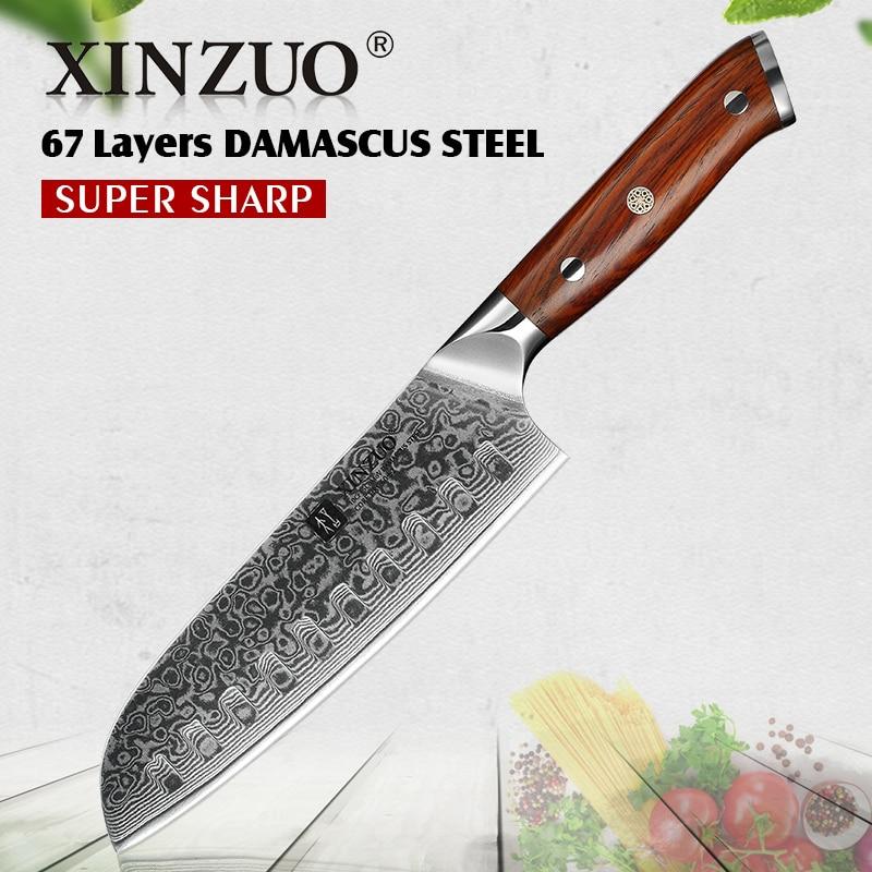 XINZUO 7-дюймовый нож Santoku японский нож шеф-повара vg10 Дамасская сталь Профессиональный кухонный нож с эргономичной деревянной ручкой розы