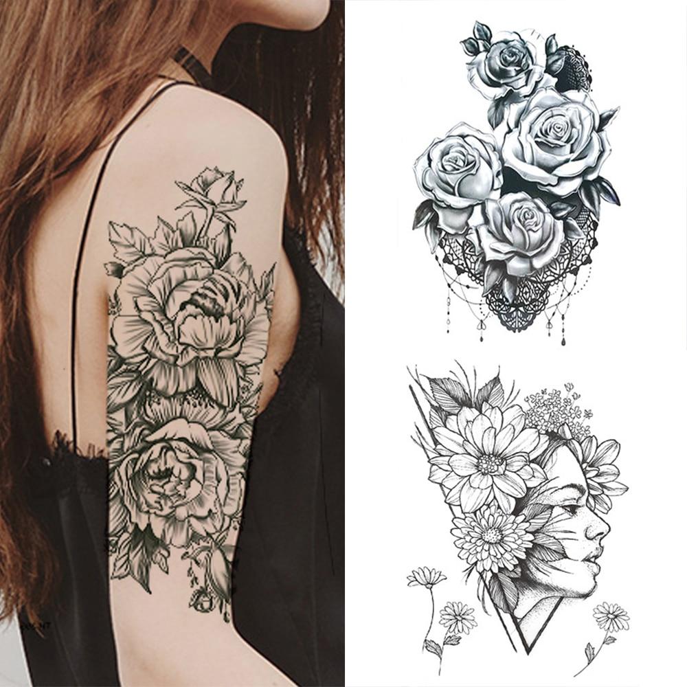 1 PC de moda de las mujeres chica tatuaje temporal etiqueta negro diseño de rosas flor llena de body art para brazos grande falso tatuaje etiqueta engomada del tatuaje