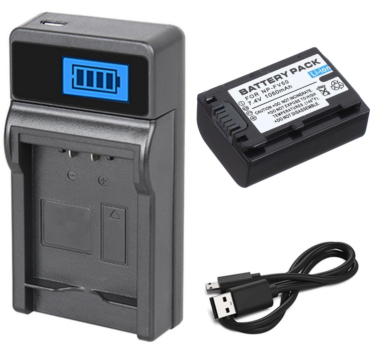 Paquete de batería + cargador para videocámara Sony HDR-XR150E, HDR-XR155E, HDR-XR160E, HDR-XR260VE,...