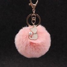 Mignon moelleux fourrure Pompon Kitty porte-clés femmes Pompon lapin fourrure Pompon chat porte-clés sac voiture bibelot femme bijoux fête cadeau