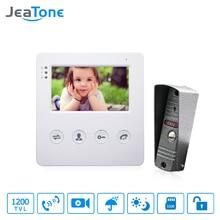 JeaTone-porte-téléphone 4 pouces   Sonnette de téléphone filaire, système dinterphone, 1 caméra avec 1 moniteur, contrôle daccès à Vision nocturne IR