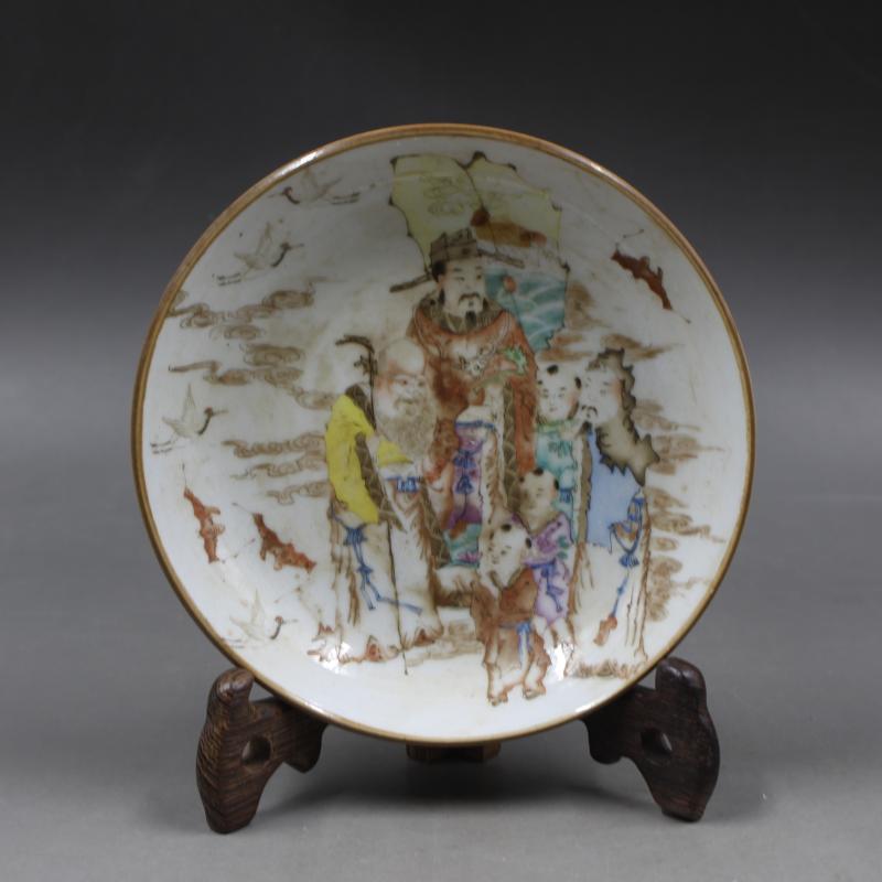 Chinese Porcelain Painting Fairchild  Fu Lu Shou Three Gods Pattern Porcelain Plate Dish Home Furnishing Decoration