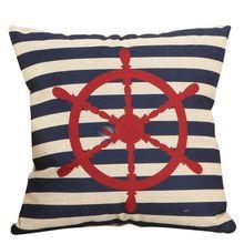 Housse de coussin de canapé en coton et lin   Motif dancre de bateau, décoration de chambre à coucher, taie doreiller de sièges de voiture pour la maison