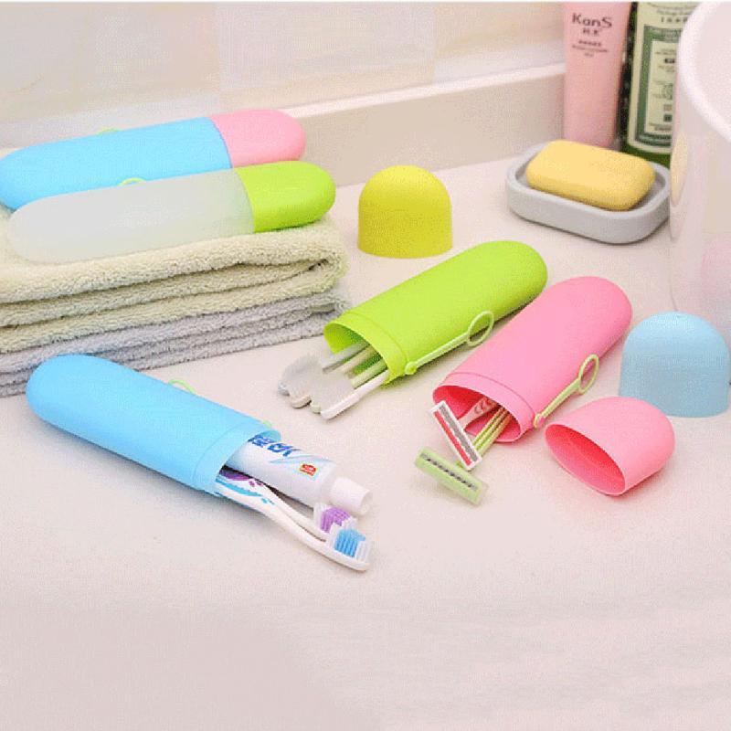 1Pcs Portable Toothbrush Case Storage Box Holder Drinking Cup Travel Case Storage Organizer Bathroom Supplies 6 Colors