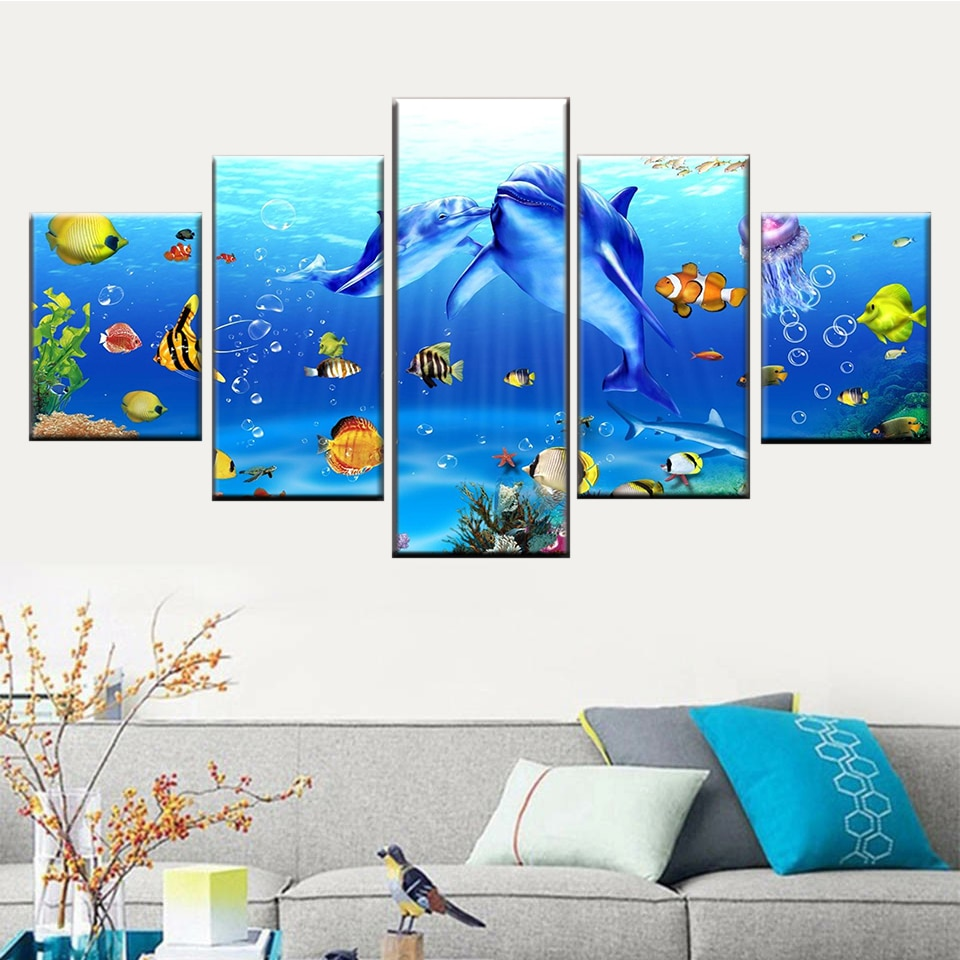5 peças de pintura impressão de golfinhos mundo subaquático coral reef fish arte do cartaz de parede imagem da lona decoração sala de estar quadro