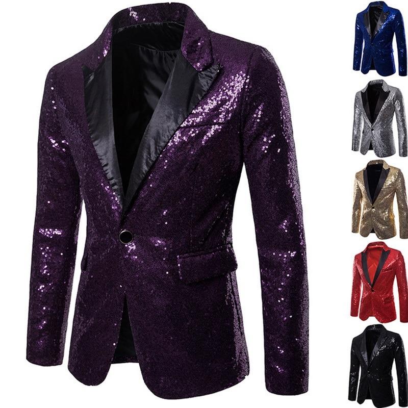 ¡Oferta! chaqueta de hombre con lentejuelas doradas brillantes y adornadas, chaqueta de discoteca para hombre, chaqueta para fiesta de boda, ropa para cantantes de escenario