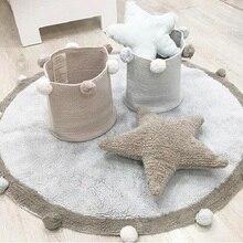 Tapis rond en coton doux nordique   Tapis de sol moelleux Kilim pour bébés enfants chambre à coucher salon rose, gris et bleu