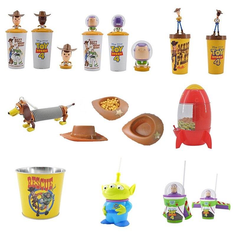 Original Toy Story 4 WOODY Shaking vaso para la cabeza BUZZ LIGHTYEAR palomitas tazas y cubos Disney película juguete historia niños regalo colección