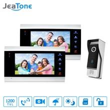 JeaTone système dinterphone vidéo   Porte-téléphone moniteur à panneau métallique TFT HD de 7 pouces, Kit de caméra de sonnette IR 2v1