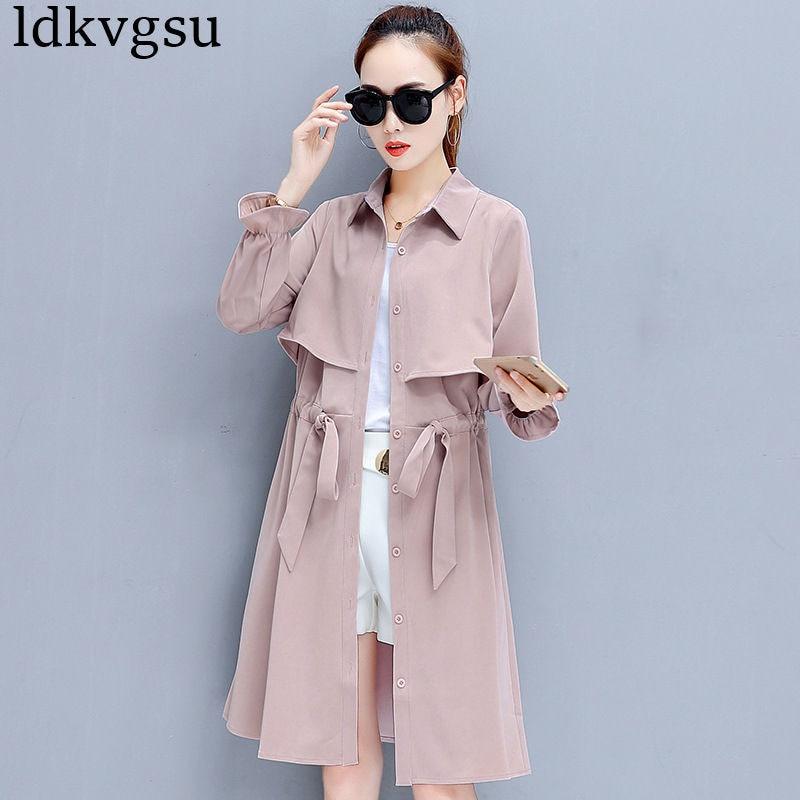 Moda Primavera otoño 2020 chaqueta rompevientos larga Casual cordón largo manga primavera manto de gabardina para mujer abrigo A684