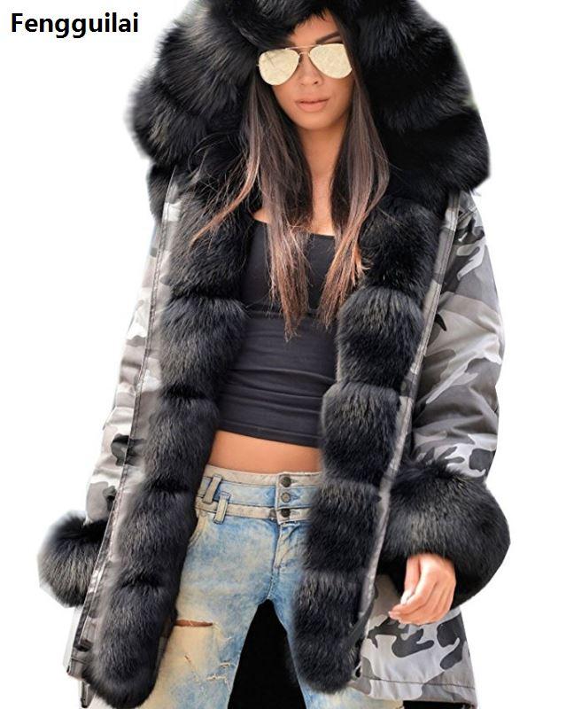 Casaco de pele europeu americano longo chapéu camuflagem casaco outono inverno moda estilo novo temperamento jaqueta magro quente casaco feminino