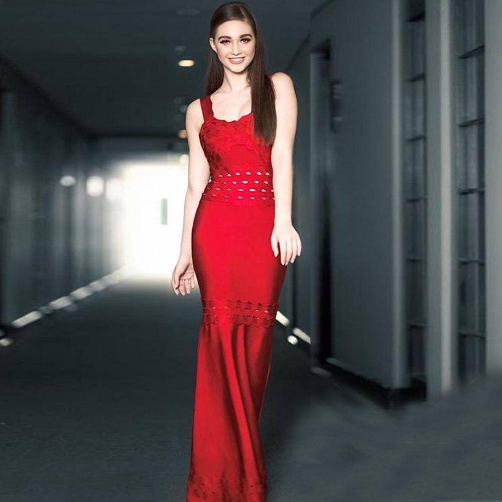 فستان طويل مثير بأربطة ، فستان سهرة ، لون أحمر ، لمأدبة الزفاف ، المشاهير