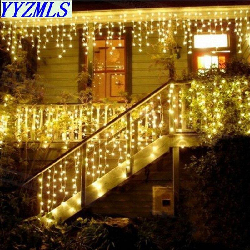 Kerst Guirlande Led Gordijn Ijspegel String Light 220V 5M 100Leds Indoor Drop Led Party Garden Stage Outdoor decoratieve Licht
