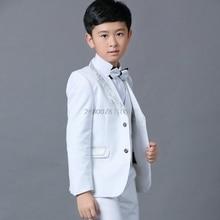 Flower Boys White Wedding Blazer Suit School Kids Piano Prom Ceremony Formal Suit Boys Birthday Party Tuxedo Costume Suit