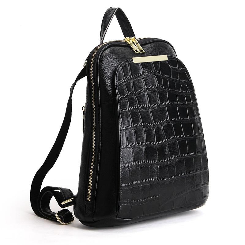 2019 European Style Women Knapsack Crocodile Pattern Cowhide Ladies Shoulder Bag High Quality Daily Female Backpack Luxury