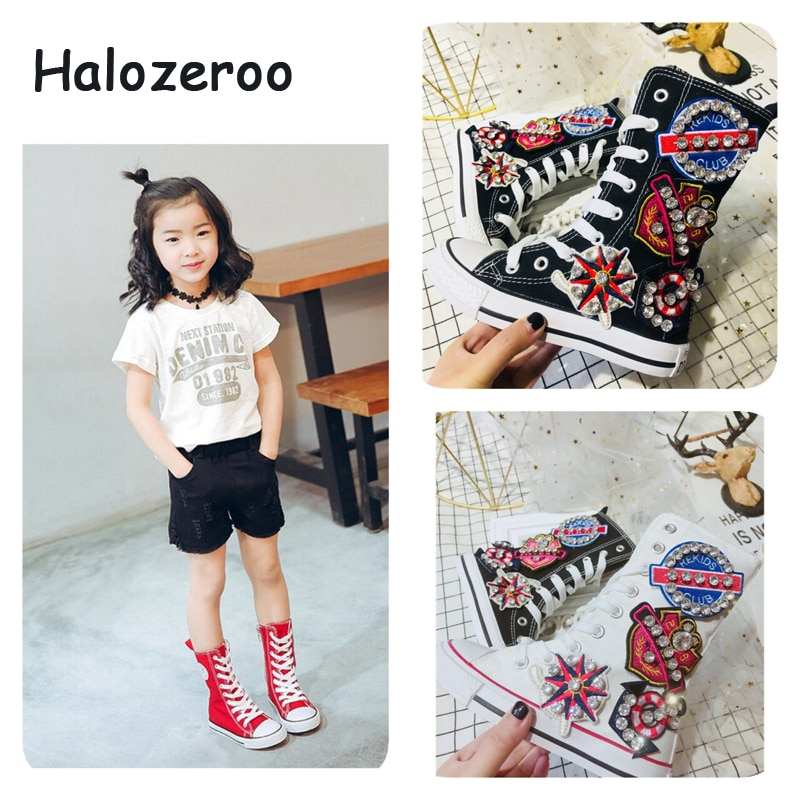 2019 Autumn New Children Rhinestone Sport Sneakers Kids High Top Casual Shoes Baby Girls Black Canva