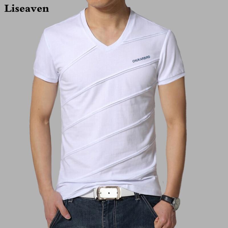 Liseaven, camiseta para hombre, camisetas de verano de Color sólido, camisetas de manga corta con cuello en V, camisetas casuales masculinas para hombres