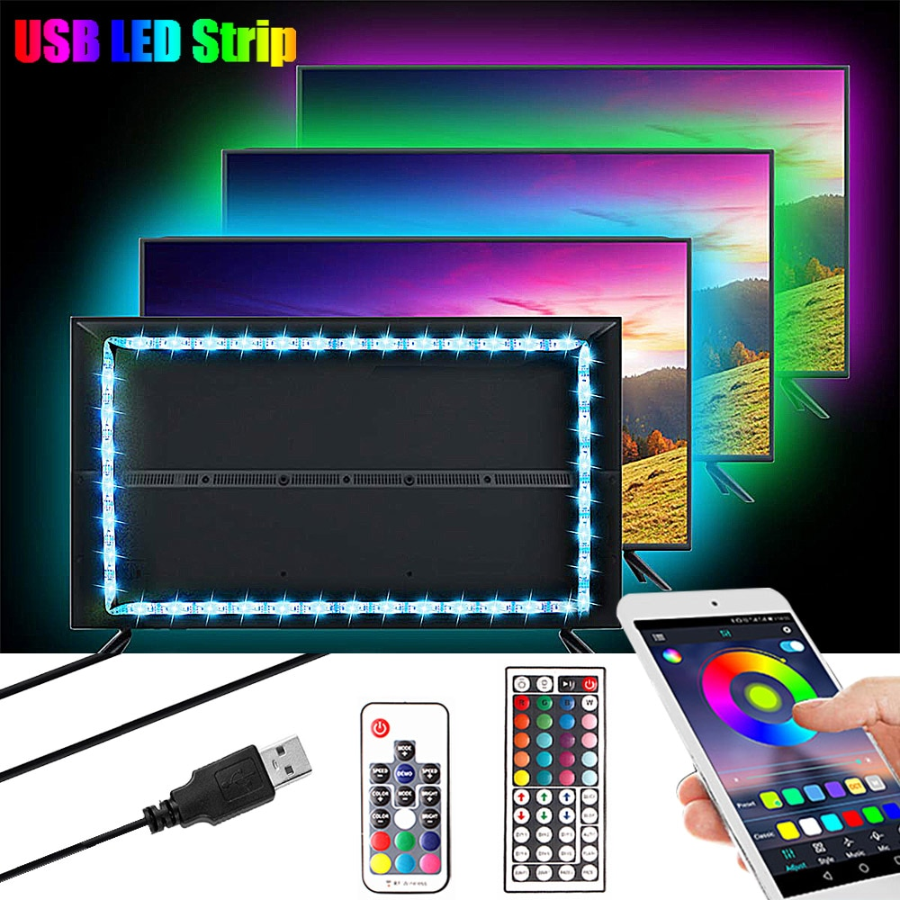 1M 2M 3M 5050 USB LED RGB Streifen Licht 5V TV Hintergrundbeleuchtung Beleuchtung Neon RGB LED band Musik/Bluetooth/RF Controller Led Streifen Licht
