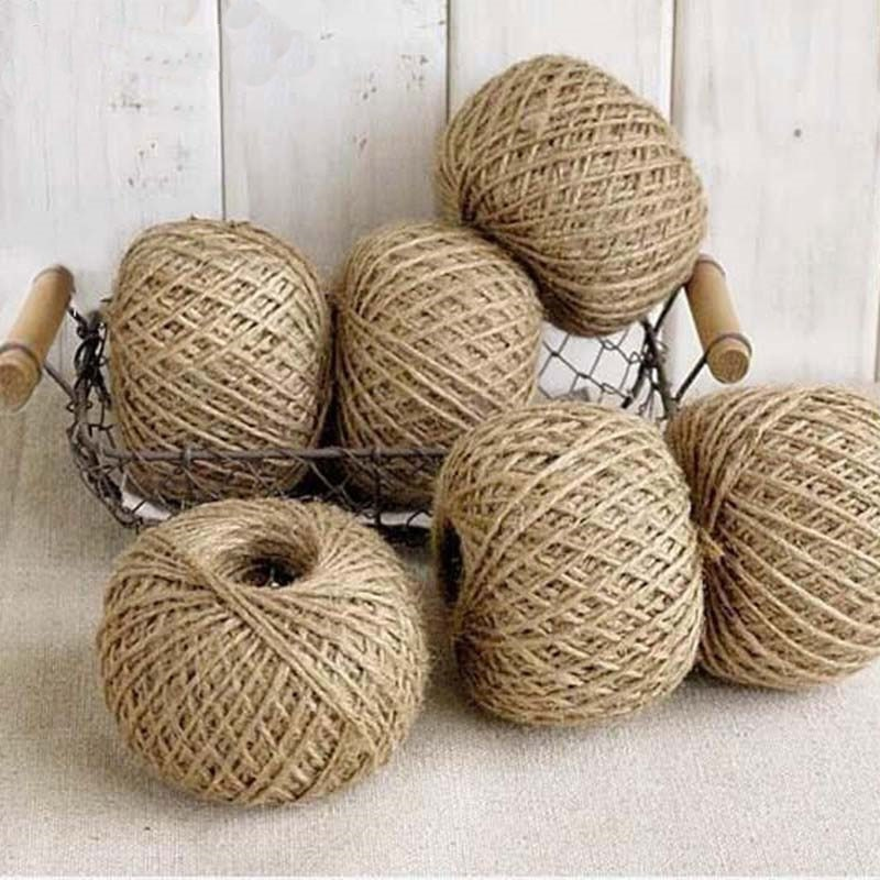 10m 5m mesh hollow natural jute twine rope string cord diy craft burlap scrapbook 30M Natural Burlap Hessian Jute Twine Cord Hemp Rope String Gift Packing Strings Christmas Event & Party Supplies