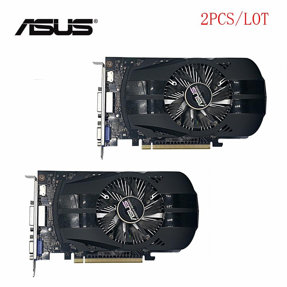 ¡Usado 2 unids/lote original ASUS GTX 750TI 2GB 128bit GDDR5 escritorio gráficos...