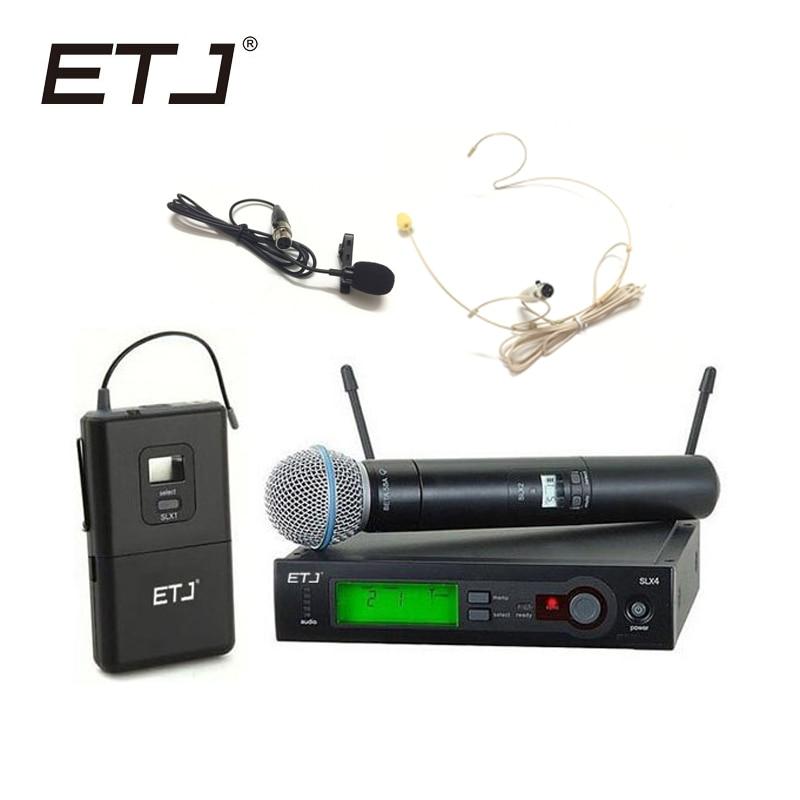ETJ бренд SLX24/BETA58 58A Профессиональный UHF беспроводной двойной микрофон система ручной гарнитуры микрофон