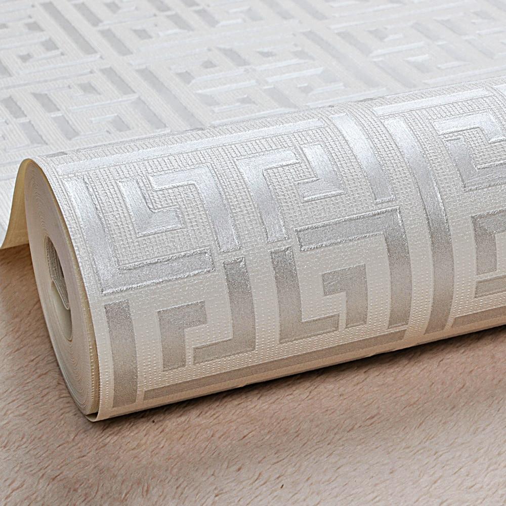 الذهب الأبيض اليونانية مفتاح نمط أبيض خلفية الحديثة هندسية معدنية ورق حائط من مادة الفينيل لفة البط البري ، أسود ، فضي ، ذهبي وردي
