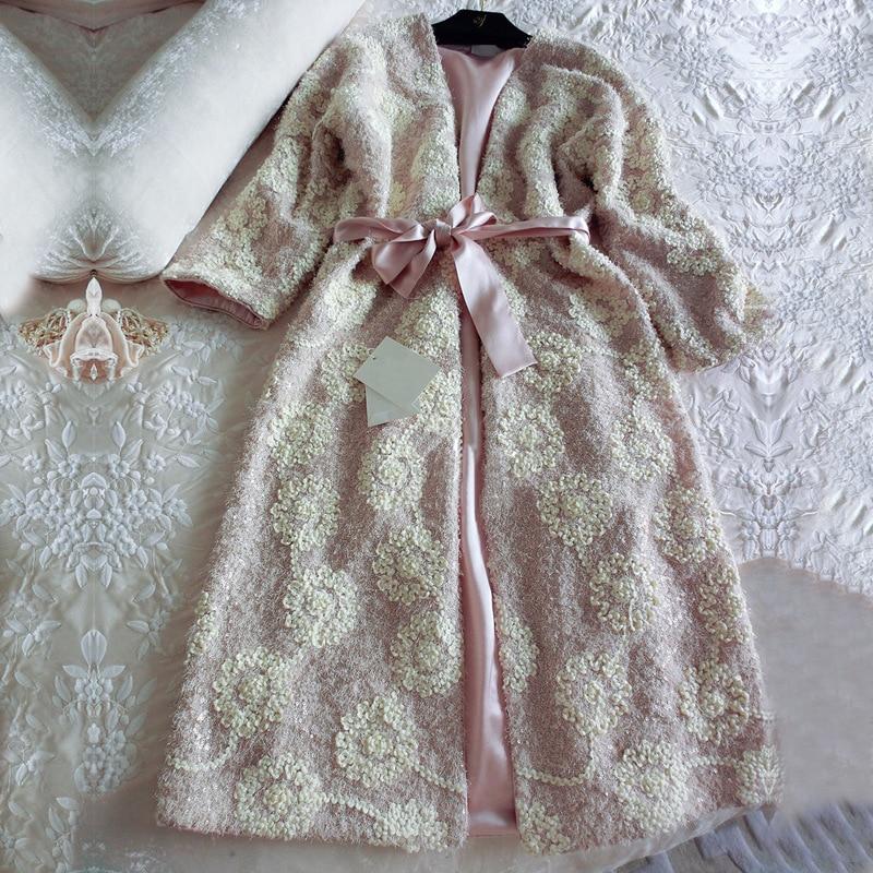Floral Silk Velvet Embroidered Luxury Female 2 Pieces Robes Sets Long Sleeve Elegant Nightgowns Thicken Sleepwear Bathrobe 2269
