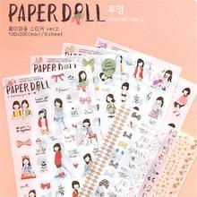 6 unids/set muñeca de papel estilo coreano lindo Kawaii chica dulce planificador calcomanías para cuadernos papel móvil Deoration