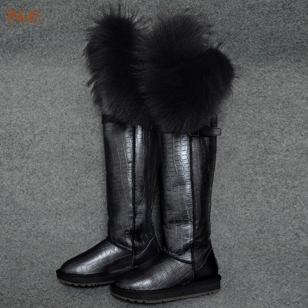 Couro de Vaca Pele de Raposa sobre o Joelho Botas de Neve Longo para as Mulheres Sapatos de Inverno à Prova Nova Moda Coxa Real Inverno Dwaterproof Água