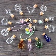 5 шт./лот мини-бутылочка для вас, лаванда, мини-прозрачная пробка, стеклянные бутылочки, маленькая бутылочка для желаний, размер 25*30 мм