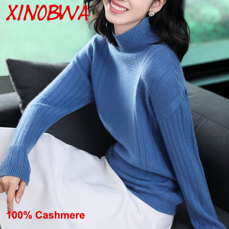 Europa Mulheres Inverno Gola Solta Malha Camisola de Caxemira 100% Das Senhoras Da Alta Moda Elegante de Lã Oversize Camisola Pere Noel