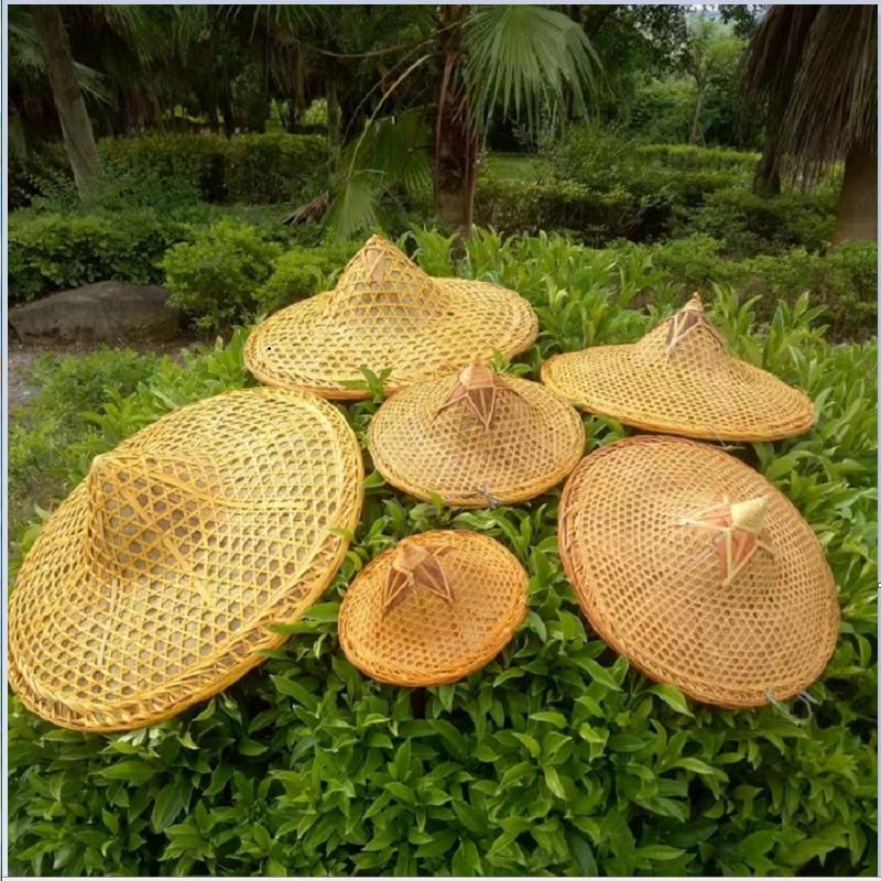 Sombrero de mimbre tejido de bambú, accesorios de baile, sombrilla de Turismo, gorra de pesca para la lluvia, pantalla de bambú, sombrero de cubo de paja decorativo
