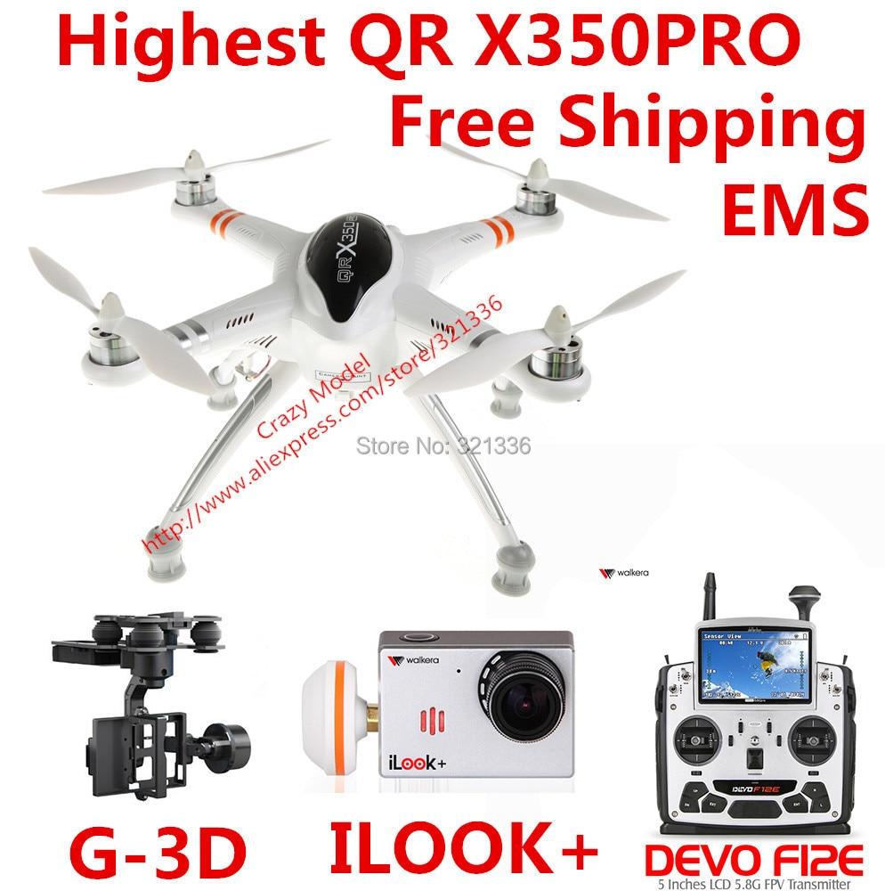 Highest Walkera QR X350 Pro Perfect RTF RC FPV Quadcopter + DEVO F12E Transmitter + iLook+ Camera +