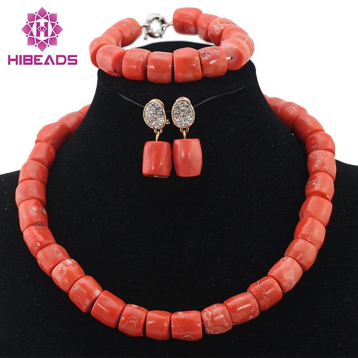 Wonderfu-طقم عقد من اللؤلؤ المرجاني الطبيعي ، هدية عيد ميلاد ، طقم مجوهرات المرجان الأفريقي ، خرز رخيص ، شحن مجاني ، ABL534
