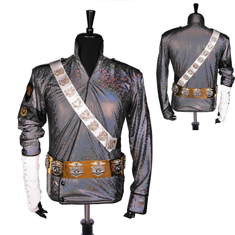 جاكيت ليزر MJ مايكل جاكسون ، صناعة يدوية نادرة ، حزام ، هدية أداء ، تقليد ، مجموعة نجوم الموسيقى