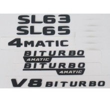 Flat Matte Black Trunk Letters Badge Badges Emblem Emblems Sticker for Mercedes Benz SL55 SL63 SL65 V8 BITURBO 4MATIC AMG