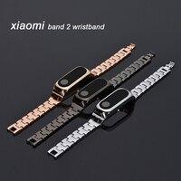 Металлический сменный ремешок для Xiaomi Mi Band 2 Miband 2, браслет из нержавеющей стали для Mi Band 2, черный, серебристый, золотой