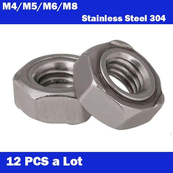 Envío Gratis 12 Uds un lote M4 M5 M6 M8 piezas estándar 304 tuercas hexagonales de acero inoxidable