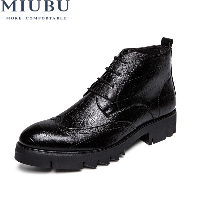 Miubu 2020 versão coreana couro masculino tornozelo sapatos outono quente de alta qualidade moda laço homem cor sólida sapatos ao ar livre para homens