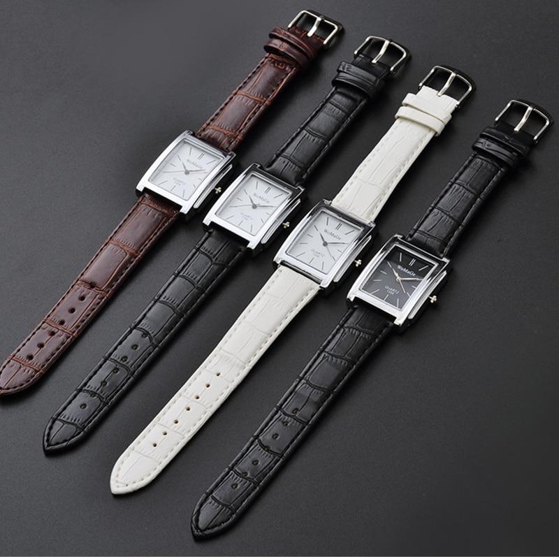 Reloj de cuarzo para Hombre Zegarek Meski, Reloj sencillo informal con correa cuadrada de cuero para Hombre, Reloj Tangan Pria Relogio femenino para Hombre