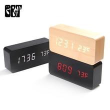 Horloge électronique à température Morden   En bois, contrôle de sons, horloge de Table numérique avec calendrier, pour chambre à coucher bureau