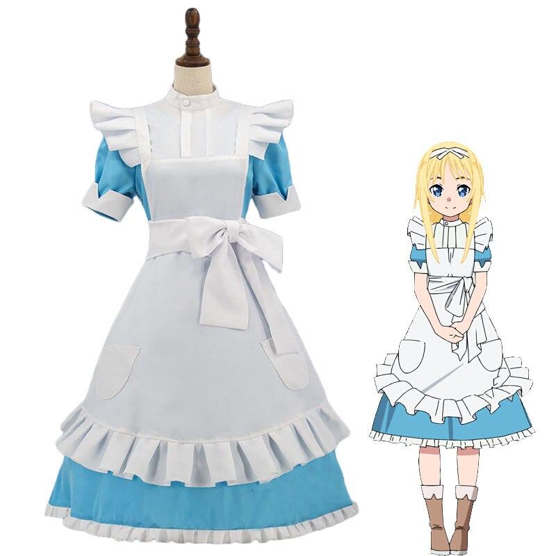 Japan Anime Sword Art Online Alicization Cosplay Costume Alice Synthesis Thirty Maid Uniform Womens Halloween Apron Dress