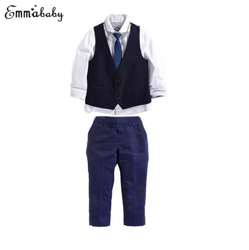 Conjunto de 3 uds. De ropa Formal de otoño para niños, ropa para bebés, chaleco para caballeros, blusa, equipo de pantalones largos para boda