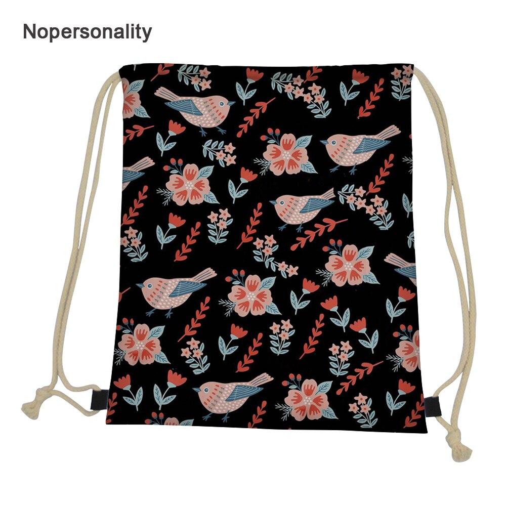 Bolsas de Viagem Bolsa de Armazenamento Nopersonality Bonito Floral Pássaros Impressão Mulheres Cordão Feminina Leve Portátil Meninas Mochila