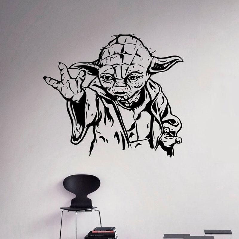 Jedi Master Yoda Wall Decal Star Wars Wall Sticker Vinyl Home Decor Interior Design Kids Room Boy Bedroom Movie Comic Mural A123