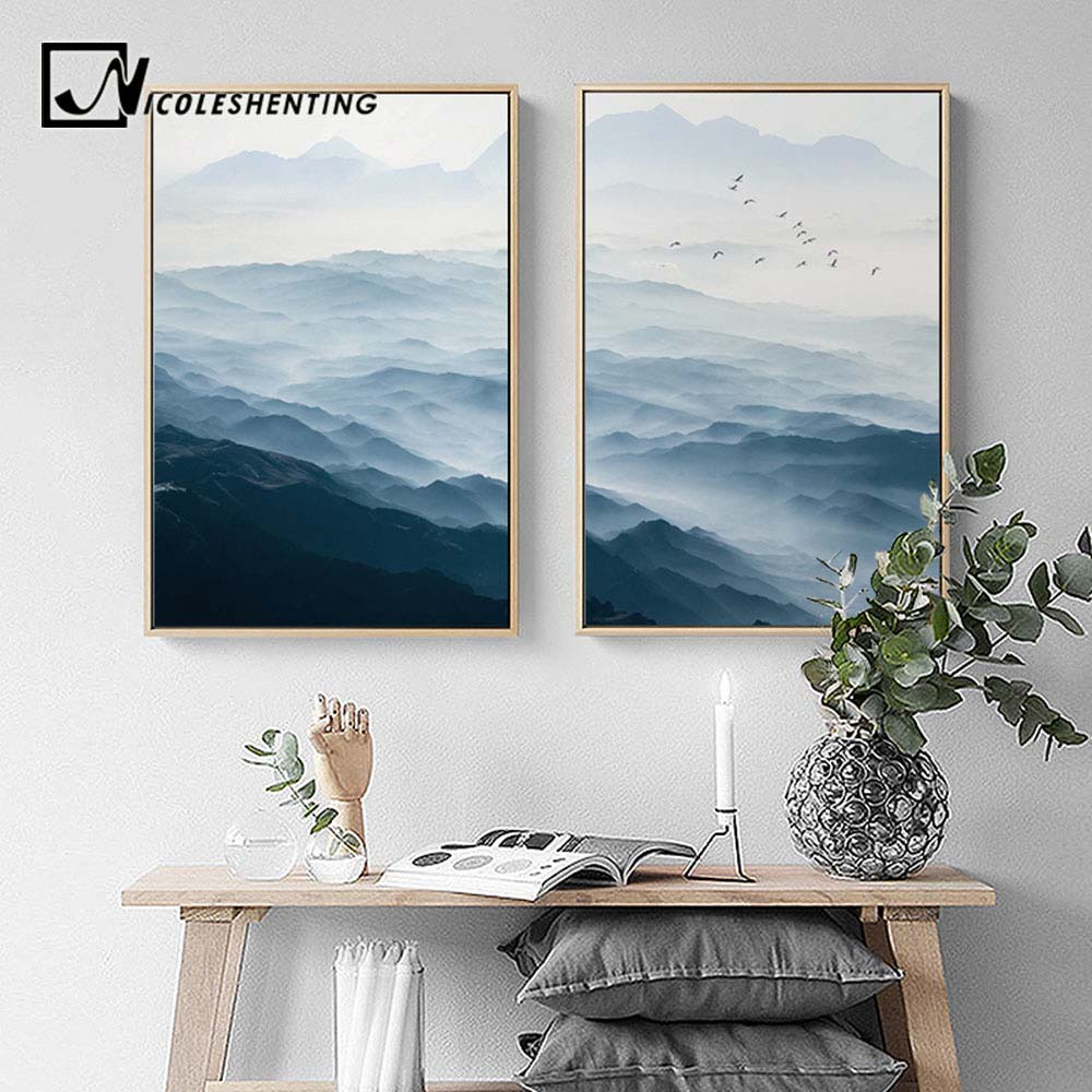 Nebuloso montanha paisagem da parede arte da lona cartazes estilo nórdico impressões quadros de parede imagem para sala estar decoração casa