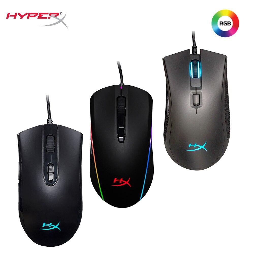 Kingston hyperx gaming mouse rgb iluminação 16000 dpi wired ratos mais alta chip pixart 3389 3327 jogo profissional mouse para computador portátil