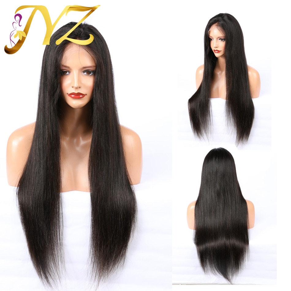 Buy 1 Send 1 Full Lace Wigs Glueless Pre Plucked Natural Hairline With Baby Hair Straight Indian Remy Hair Wigs Bleached Knots